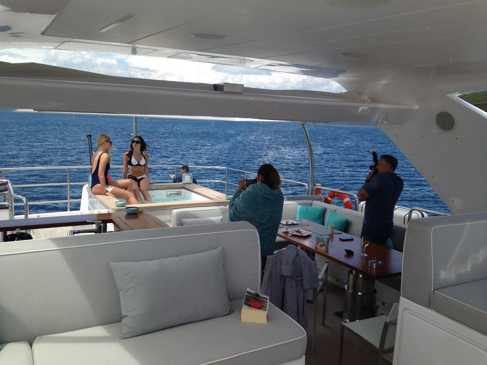 Photoshoot on board of our Delfino 93'
